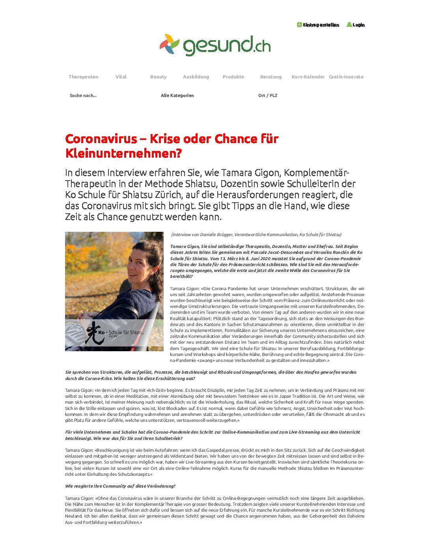 Coronavirus – Krise oder Chance für Kleinunternehmen (Dez 2020)