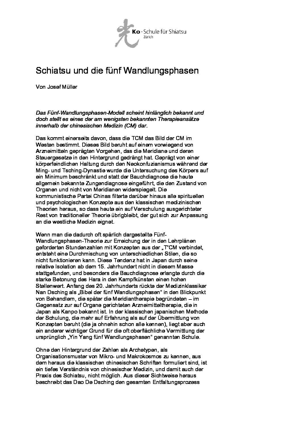 Schiatsu und die fünf Wandlungsphasen (August 2009)
